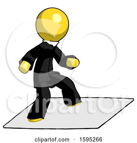 Yellow Clergy Man on Postage Envelope Surfing by Leo Blanchette