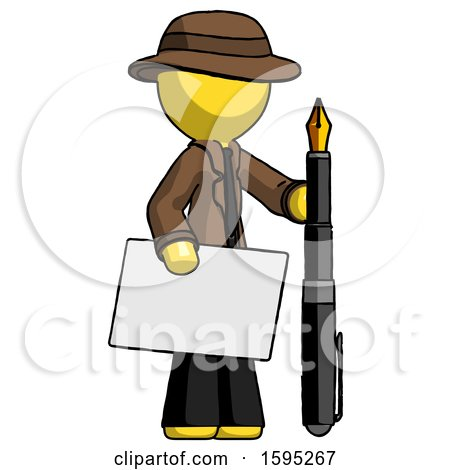 Yellow Detective Man Holding Large Envelope and Calligraphy Pen by Leo Blanchette