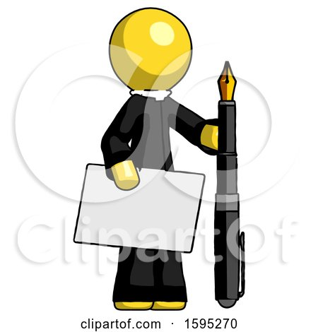 Yellow Clergy Man Holding Large Envelope and Calligraphy Pen by Leo Blanchette