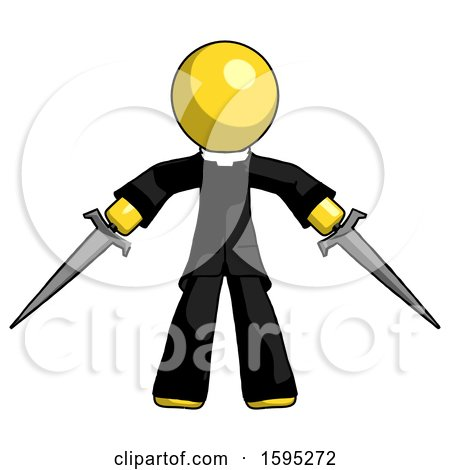 Yellow Clergy Man Two Sword Defense Pose by Leo Blanchette
