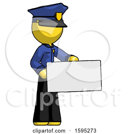 Yellow Police Man Presenting Large Envelope by Leo Blanchette