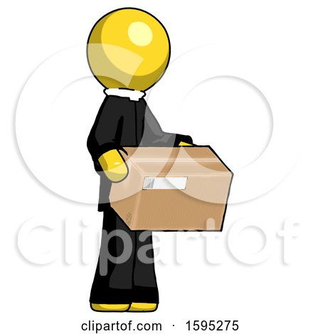 Yellow Clergy Man Holding Package to Send or Recieve in Mail by Leo Blanchette