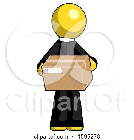 Yellow Clergy Man Holding Box Sent or Arriving in Mail by Leo Blanchette