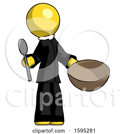 Yellow Clergy Man with Empty Bowl and Spoon Ready to Make Something by Leo Blanchette