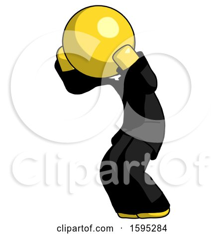 Yellow Clergy Man with Headache or Covering Ears Turned to His Left by Leo Blanchette