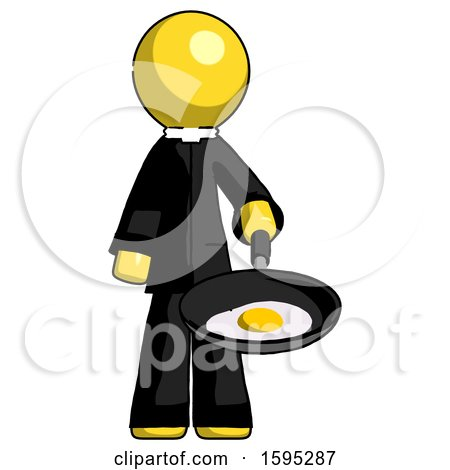 Yellow Clergy Man Frying Egg in Pan or Wok by Leo Blanchette