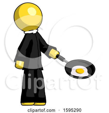 Yellow Clergy Man Frying Egg in Pan or Wok Facing Right by Leo Blanchette