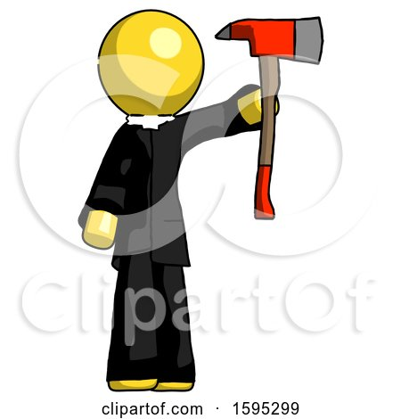 Yellow Clergy Man Holding up Red Firefighter's Ax by Leo Blanchette