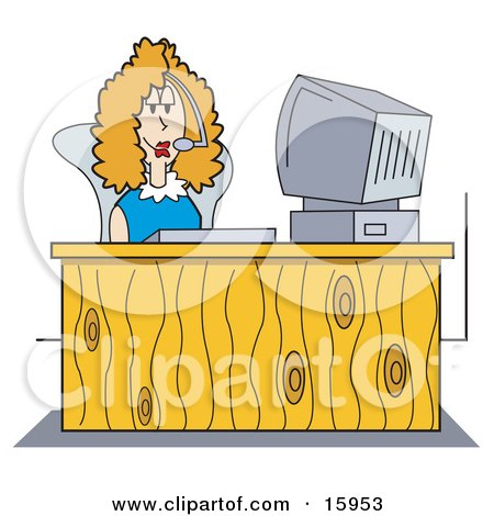 Female Receptionist Wearing A Headset And Taking A Call While Seated At A Computer Desk In An Office Clipart Illustration by Andy Nortnik
