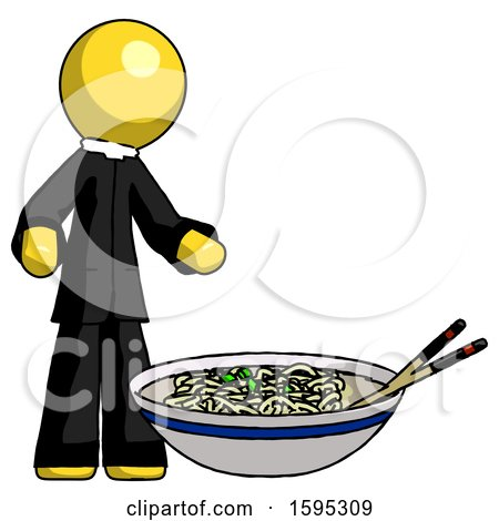 Yellow Clergy Man and Noodle Bowl, Giant Soup Restaraunt Concept by Leo Blanchette