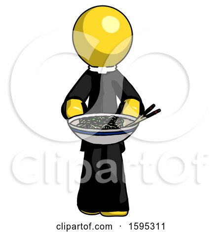 Yellow Clergy Man Serving or Presenting Noodles by Leo Blanchette