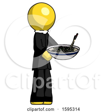 Yellow Clergy Man Holding Noodles Offering to Viewer by Leo Blanchette