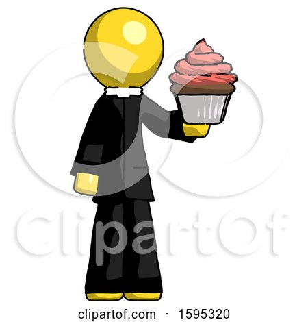 Yellow Clergy Man Presenting Pink Cupcake to Viewer by Leo Blanchette
