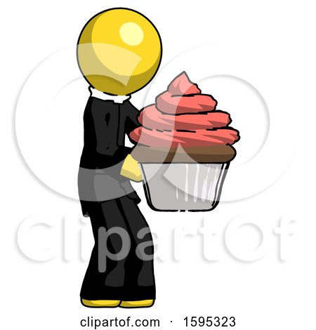 Yellow Clergy Man Holding Large Cupcake Ready to Eat or Serve by Leo Blanchette