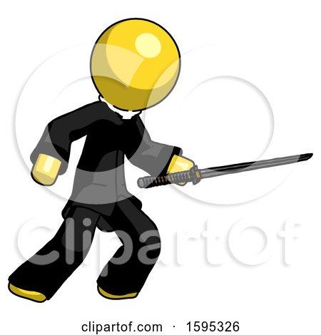 Yellow Clergy Man Stabbing with Ninja Sword Katana by Leo Blanchette