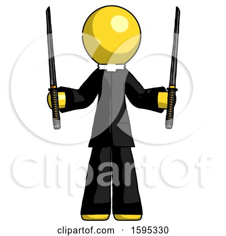 Yellow Clergy Man Posing with Two Ninja Sword Katanas up by Leo Blanchette