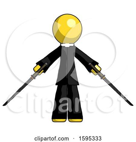 Yellow Clergy Man Posing with Two Ninja Sword Katanas by Leo Blanchette