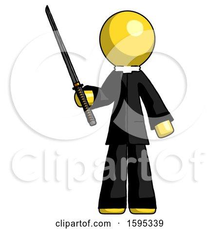 Yellow Clergy Man Standing up with Ninja Sword Katana by Leo Blanchette