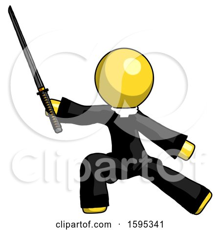 Yellow Clergy Man with Ninja Sword Katana in Defense Pose by Leo Blanchette