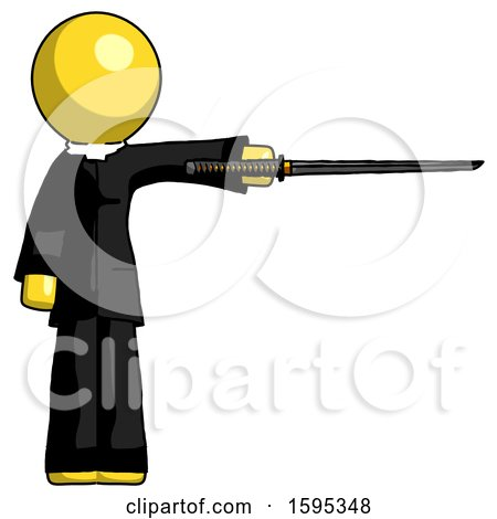 Yellow Clergy Man Standing with Ninja Sword Katana Pointing Right by Leo Blanchette