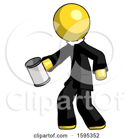 Yellow Clergy Man Begger Holding Can Begging or Asking for Charity Facing Left by Leo Blanchette