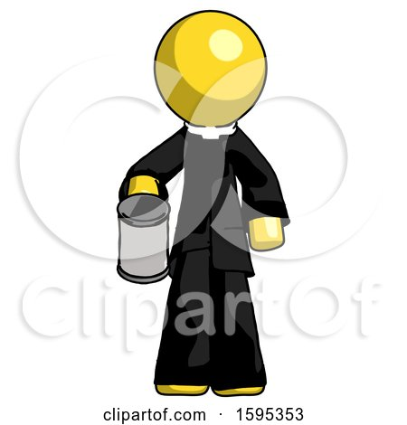Yellow Clergy Man Begger Holding Can Begging or Asking for Charity by Leo Blanchette