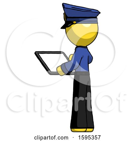 Yellow Police Man Looking at Tablet Device Computer with Back to Viewer by Leo Blanchette