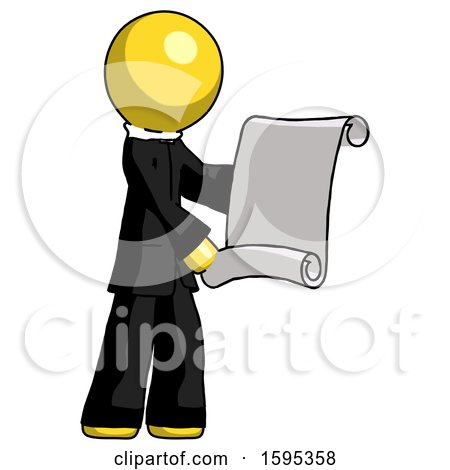 Yellow Clergy Man Holding Blueprints or Scroll by Leo Blanchette