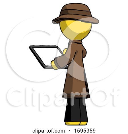 Yellow Detective Man Looking at Tablet Device Computer with Back to Viewer by Leo Blanchette
