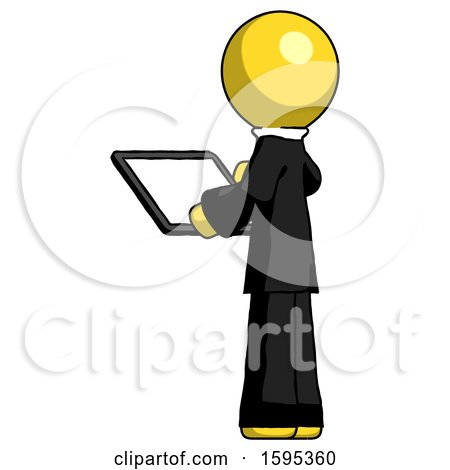Yellow Clergy Man Looking at Tablet Device Computer with Back to Viewer by Leo Blanchette
