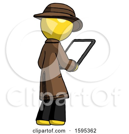 Yellow Detective Man Looking at Tablet Device Computer Facing Away by Leo Blanchette