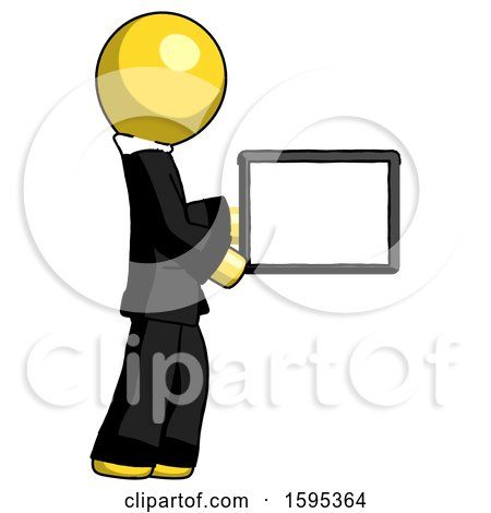 Yellow Clergy Man Show Tablet Device Computer to Viewer, Blank Area by Leo Blanchette