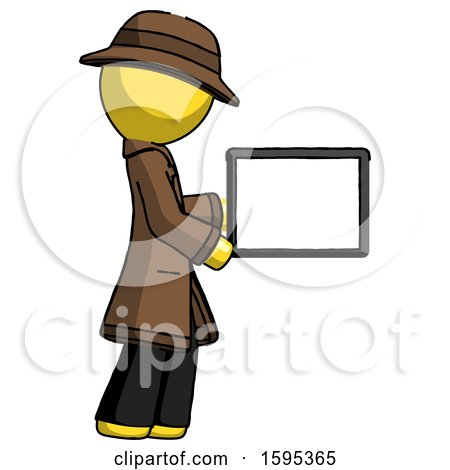 Yellow Detective Man Show Tablet Device Computer to Viewer, Blank Area by Leo Blanchette