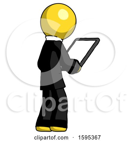 Yellow Clergy Man Looking at Tablet Device Computer Facing Away by Leo Blanchette