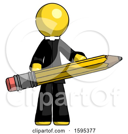 Yellow Clergy Man Writer or Blogger Holding Large Pencil by Leo Blanchette