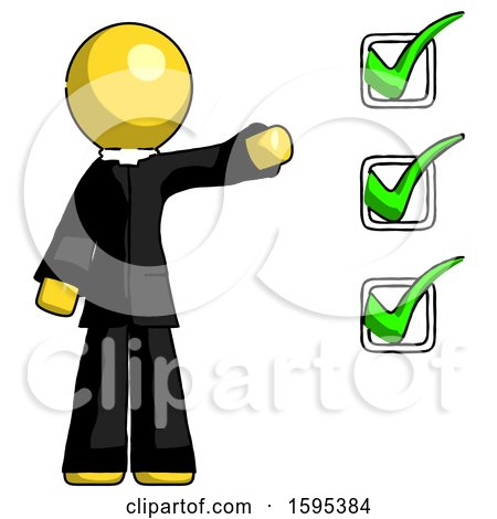 Yellow Clergy Man Standing by List of Checkmarks by Leo Blanchette