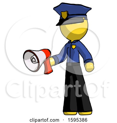 Yellow Police Man Holding Megaphone Bullhorn Facing Right by Leo Blanchette