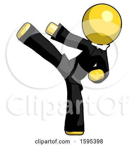 Yellow Clergy Man Ninja Kick Left by Leo Blanchette