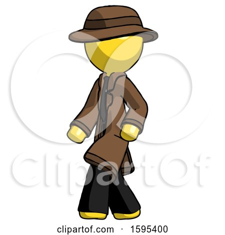 Yellow Detective Man Man Walking Turned Left Front View by Leo Blanchette