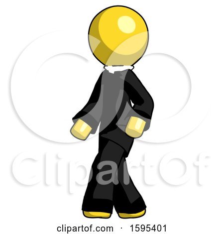 Yellow Clergy Man Man Walking Turned Left Front View by Leo Blanchette