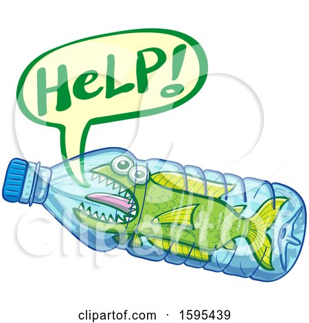 Clipart of a Fish Yelling for Help, Stuck Inside a Water Bottle - Royalty Free Vector Illustration by Zooco