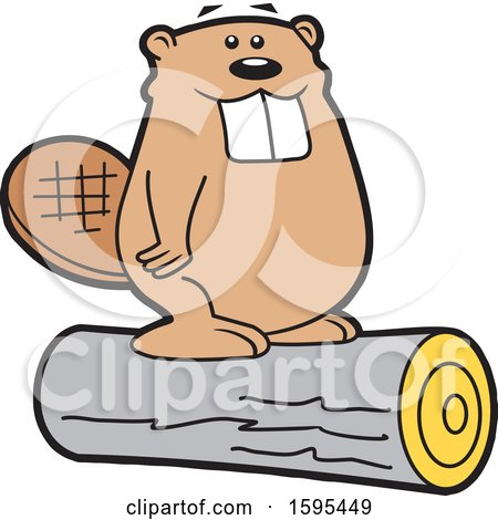 Clipart of a Cartoon Beaver School Sports Mascot Standing on a Log - Royalty Free Vector Illustration by Johnny Sajem