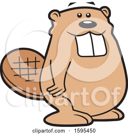 Clipart of a Cartoon Beaver School Sports Mascot - Royalty Free Vector Illustration by Johnny Sajem