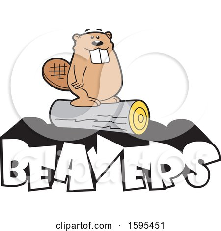 Clipart of a Cartoon Beaver School Sports Mascot Standing on a Log over Text - Royalty Free Vector Illustration by Johnny Sajem