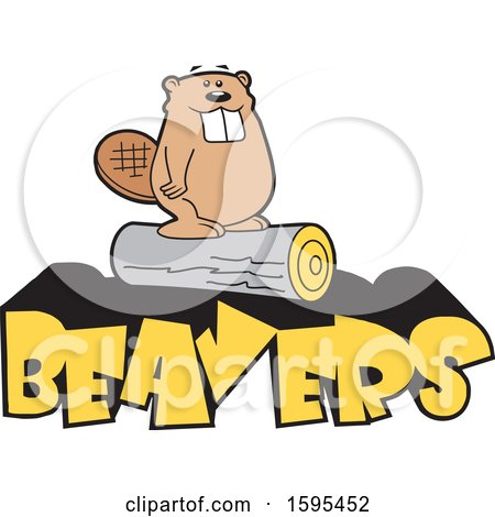 Clipart of a Cartoon Beaver School Sports Mascot Standing on a Log over Yellow Text - Royalty Free Vector Illustration by Johnny Sajem