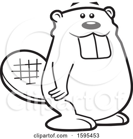 Clipart of a Cartoon Black and White Beaver School Sports Mascot - Royalty Free Vector Illustration by Johnny Sajem