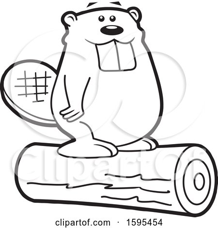 Clipart of a Cartoon Black and White Beaver School Sports Mascot Standing on a Log - Royalty Free Vector Illustration by Johnny Sajem