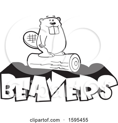 Clipart of a Cartoon Black and White Beaver School Sports Mascot Standing on a Log over Text - Royalty Free Vector Illustration by Johnny Sajem