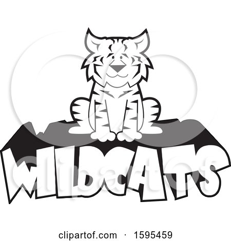 Clipart of a Cartoon Black and White Bobcat School Sports Mascot Sitting on Wildcats Text - Royalty Free Vector Illustration by Johnny Sajem