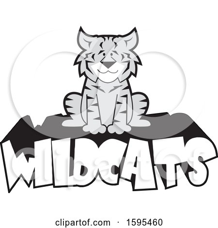 Clipart of a Cartoon Grayscale Bobcat School Sports Mascot Sitting on Wildcats Text - Royalty Free Vector Illustration by Johnny Sajem